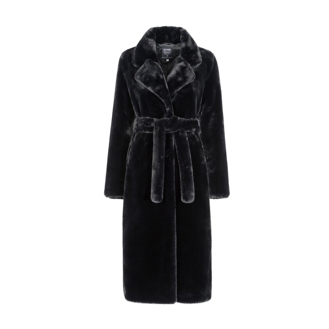 Czarny  płaszcz  damski  z  paskiem